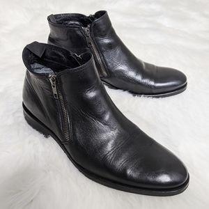 Dune London Leather Dress Boots Zipper Sides